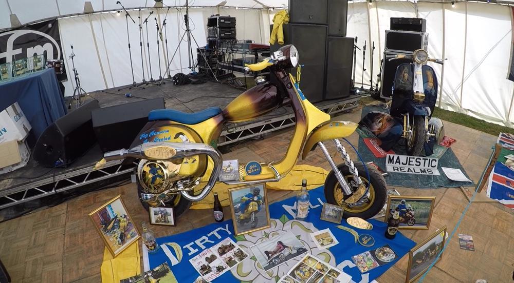 Side view of Top Banana custom Vespa chopper at the Isle of Wight custom show 2018