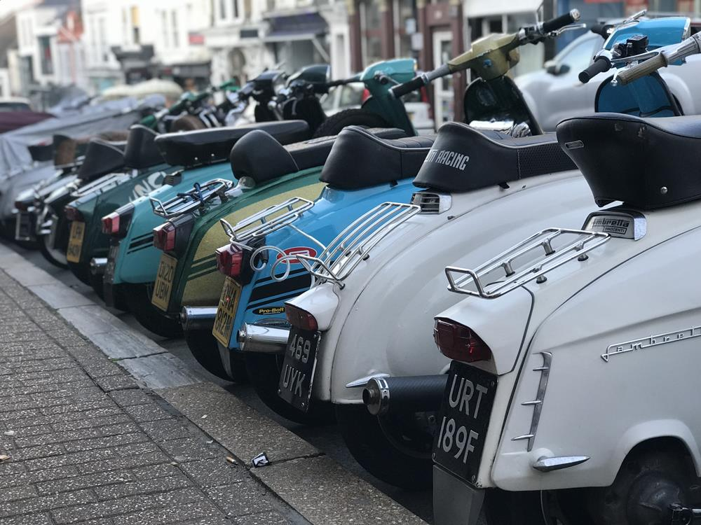 Row of Lambrettas outside Yelf's hotel