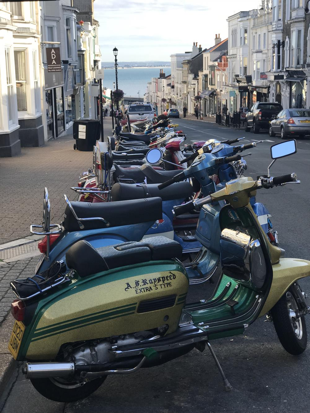 View down Union Street in Ryde with scooters in the foreground