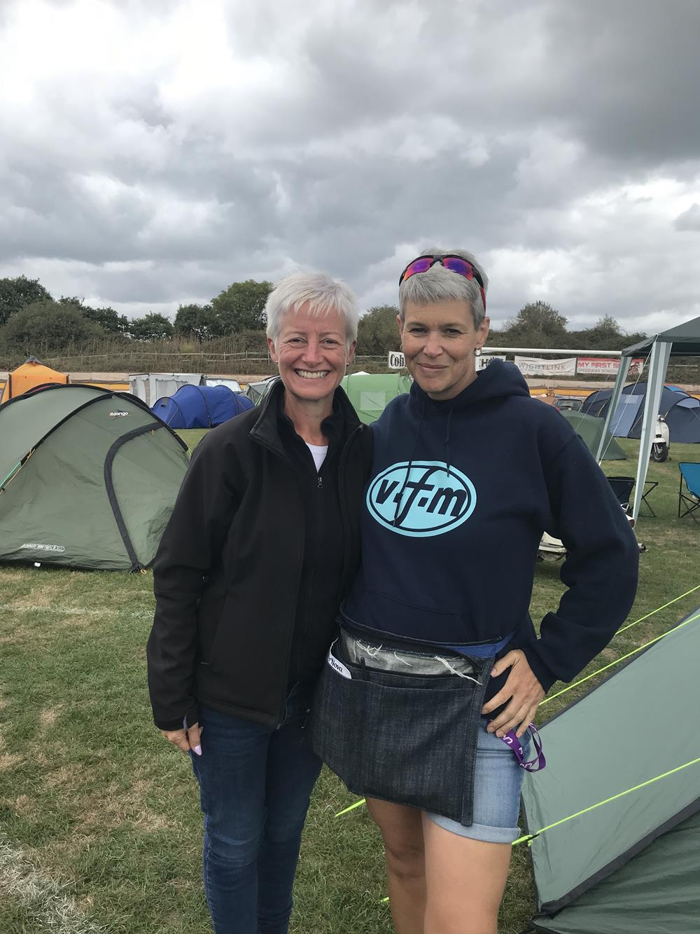 Ali and Tori amongst the tents at the Isle of Wight scooter rally in 2018