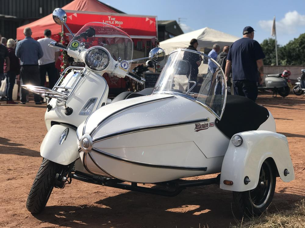 Vespa GTS with Watsonian sidecar at the Isle of Wight scooter rally in 2018