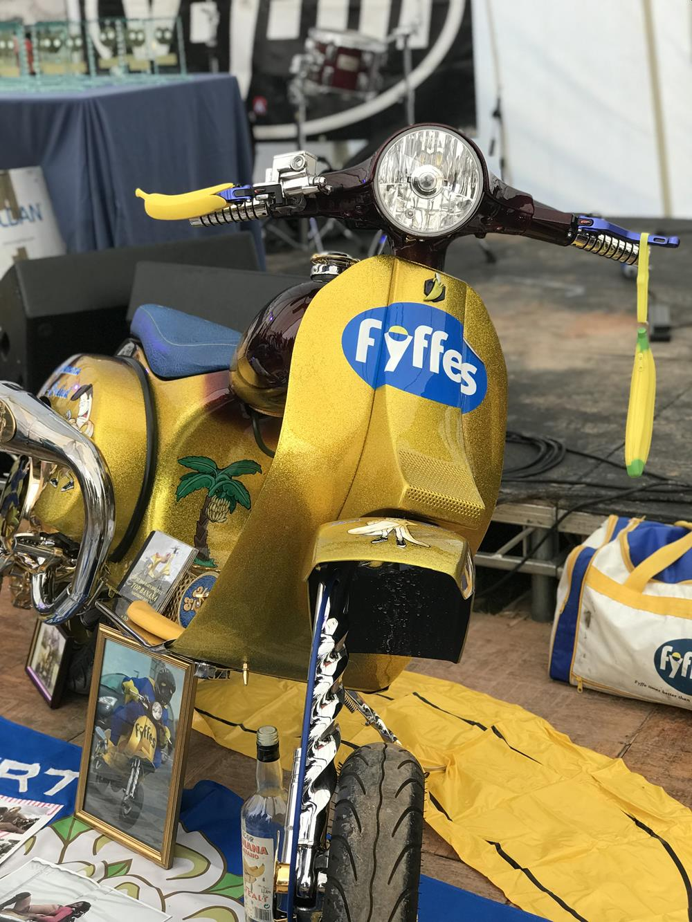 Fyffes mural on the front of the yellow scooter called Top Banana