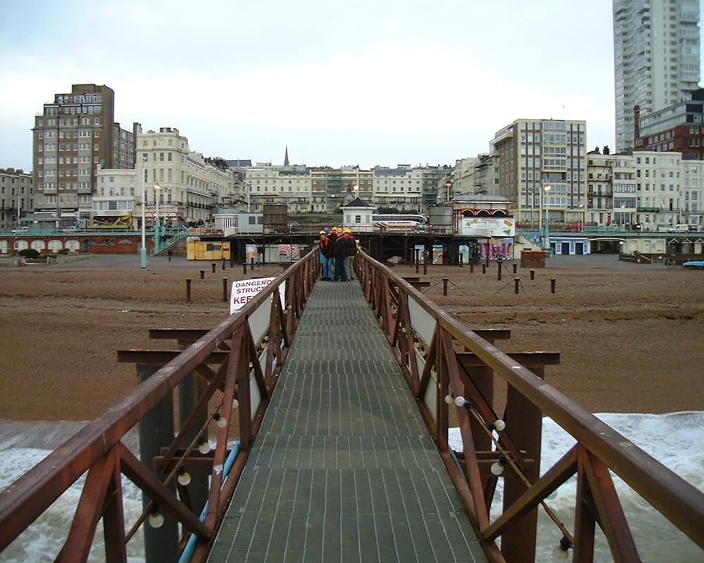 Walkway leading from Brighton's West Pier back to the shore in 2000