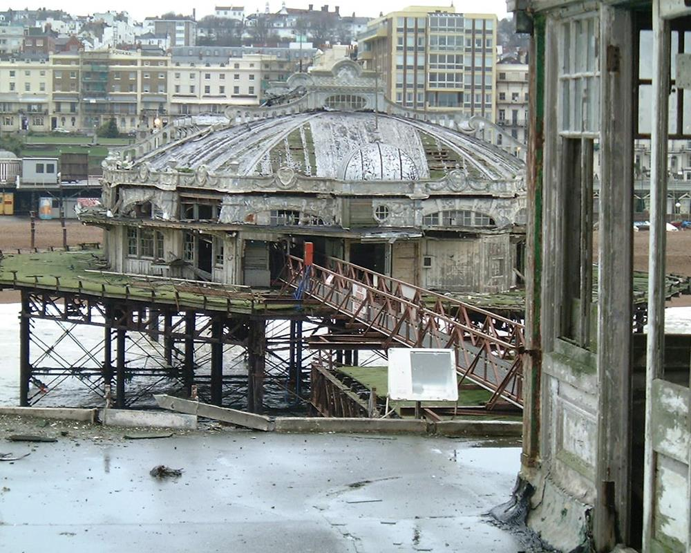 The dilapidated West Pier in Brighton taken on a tour in 2000