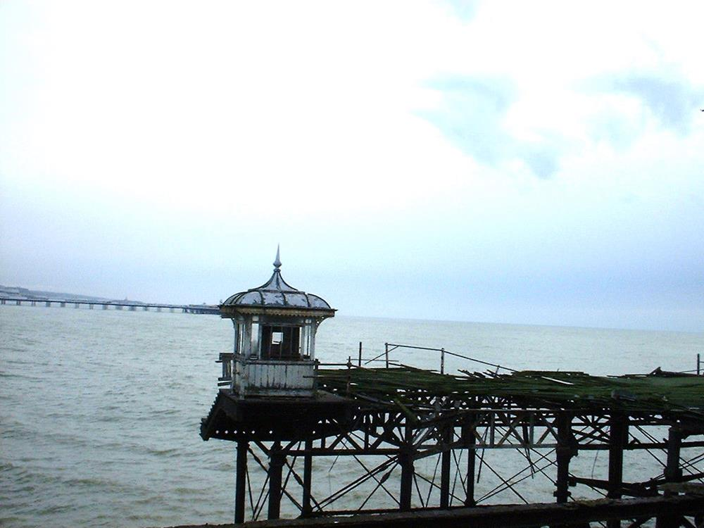Small toll booth remaining on Brighton's West Pier in 2000