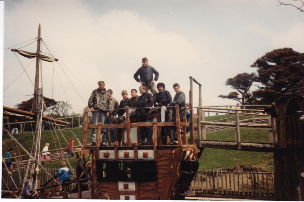 Group of scooterboys on the pirate ship at Blackgang Chine, Isle of Wight