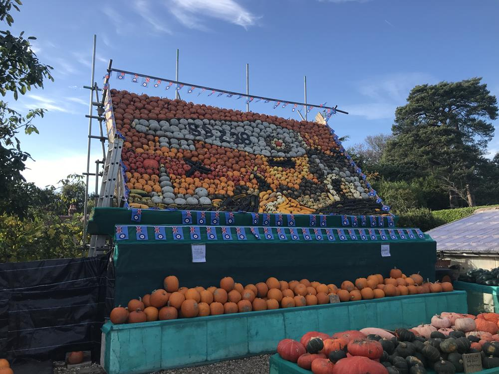 The Sindon pumpkin display includes over 50 different varieties depicting an RAF airship
