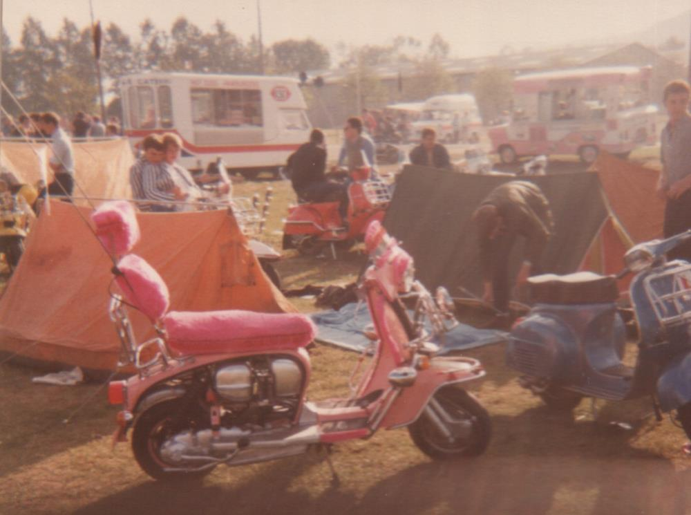 Lambretta with pink fluffy seat and backrest