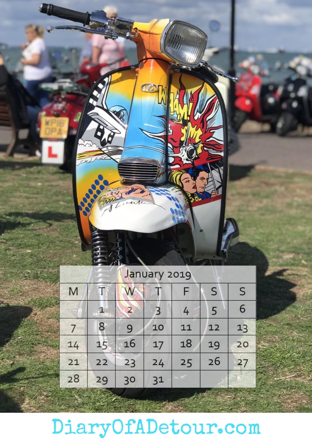 Andy Warhol custom scooter free wallpaper with January 2019 calendar
