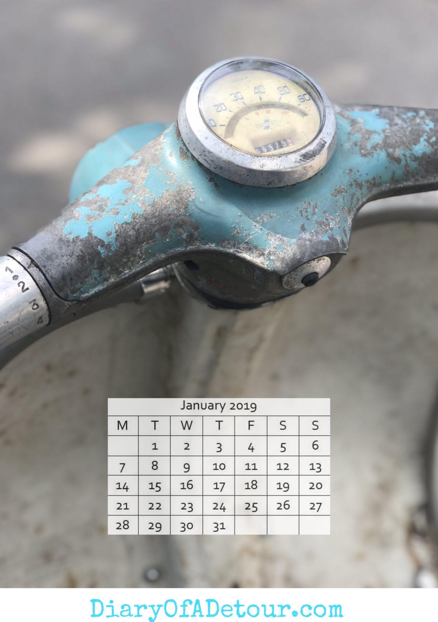 Rusty scooter wallpaper featuring a Lambretta headset
