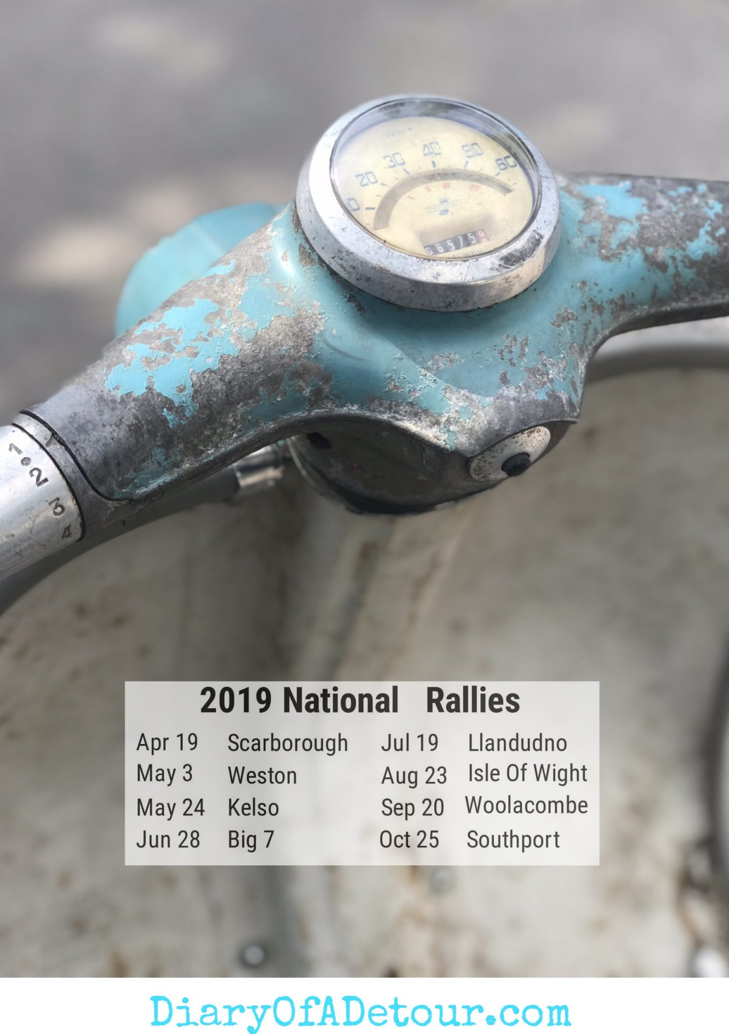 Rusty scooter wallpaper featuring a Lambretta headset and the 2019 scooter rally dates