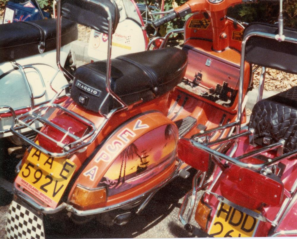 Orange custom Vespa at the Brighton rally in 1982
