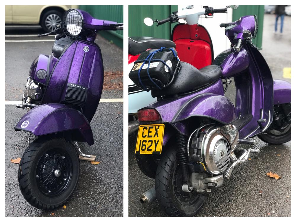 Purple Vespa cutdown scooter