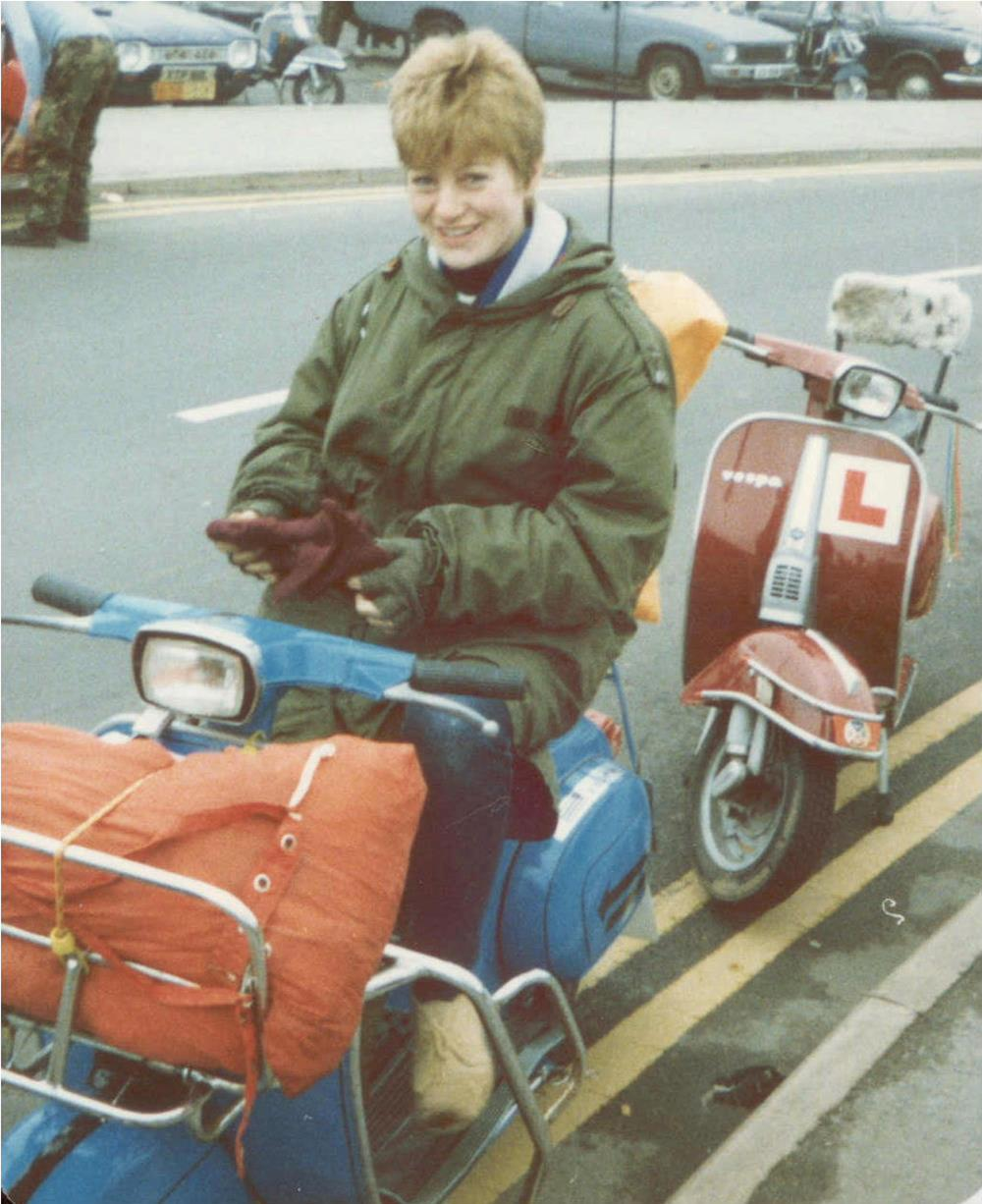 Ali Richards on her first Vespa at her first rally