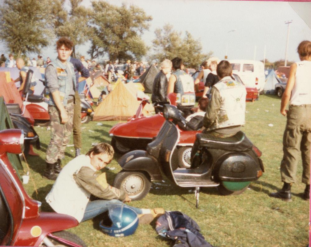 A group of scooterists at the Weston rally in 1984