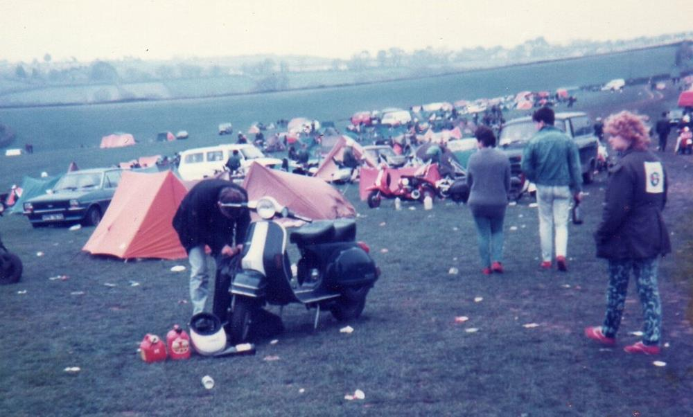 The campsite at Torquay scooter rally in 1984