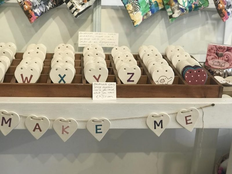 Ceramic hearts with letters on