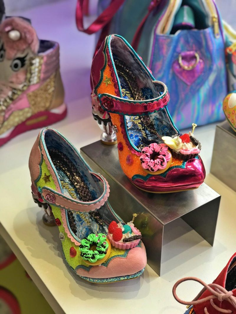 Irregular choice shoes, embellished with flowers and a carved heel