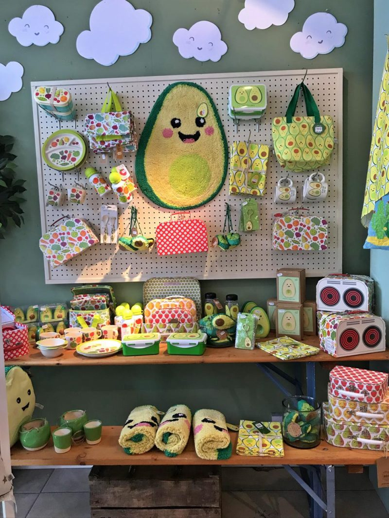 Avocado range of products including bath mat, lunchboxes and cups.