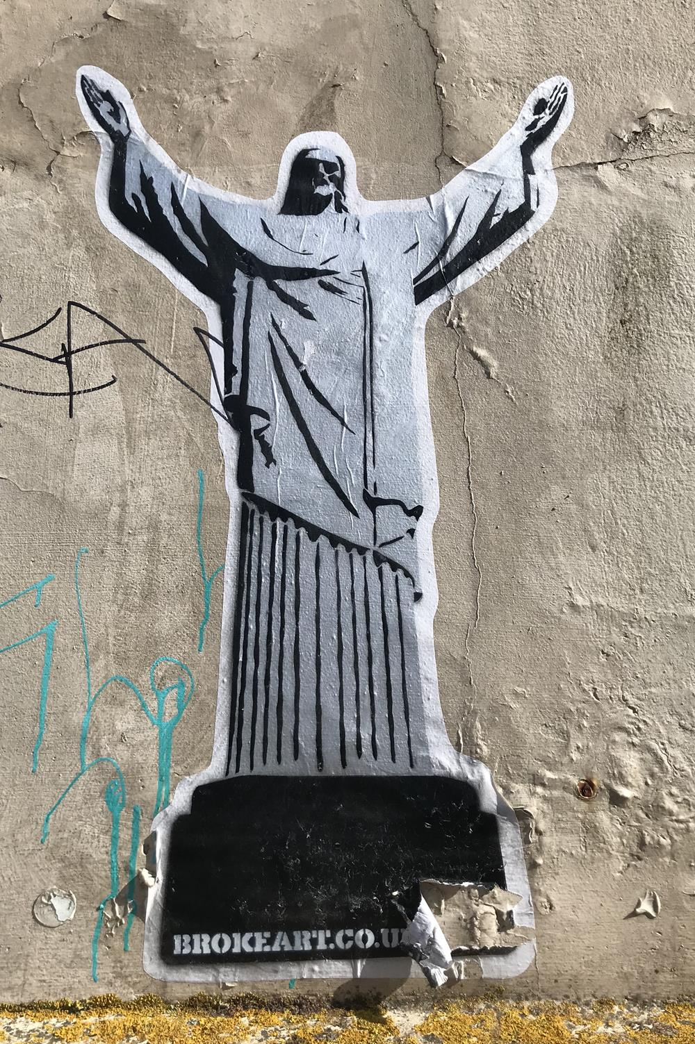 Jesus doing the YMCA arm movements. This is the Y from YMCA