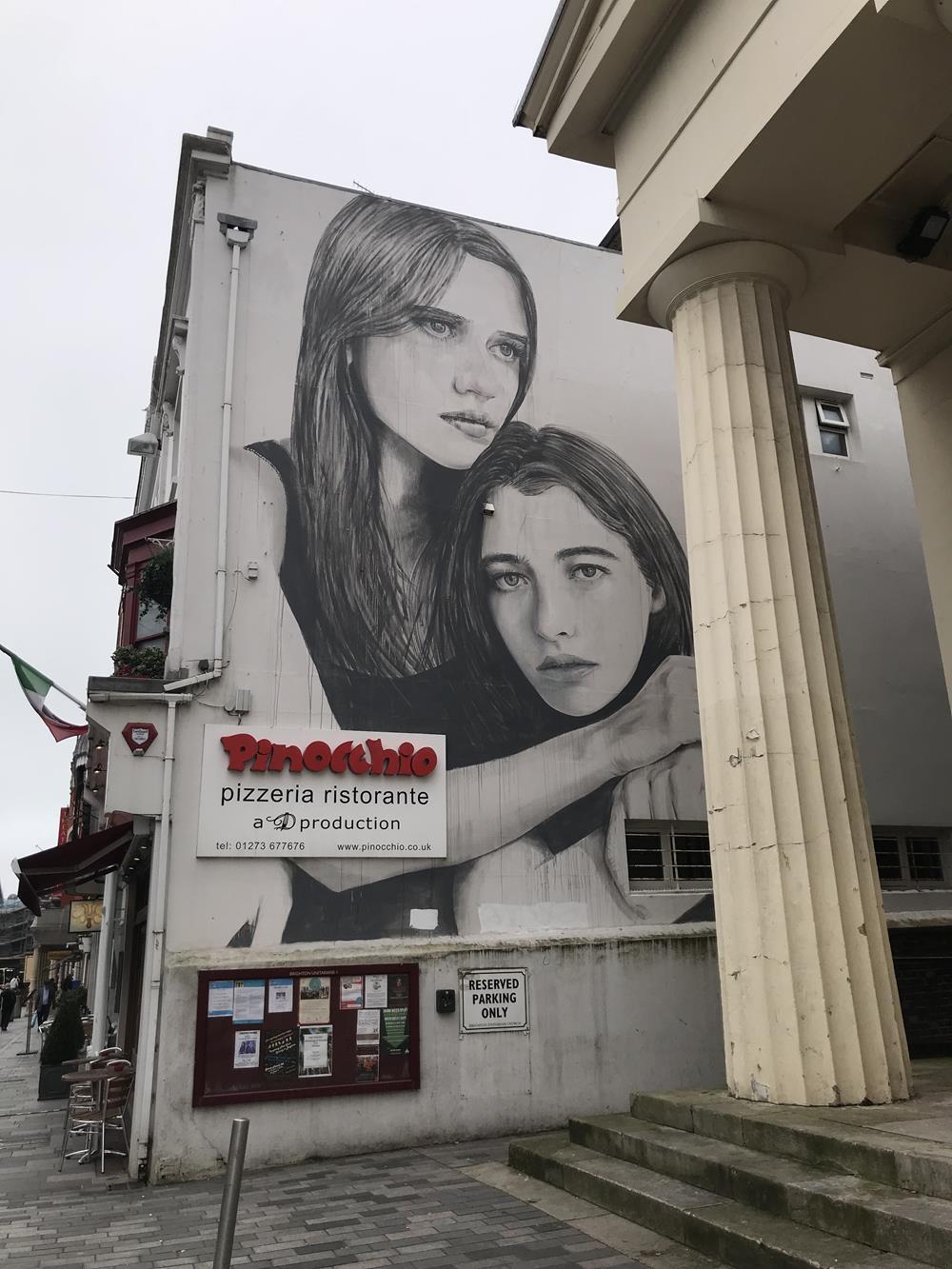 Pinocchio restaurant street art in Brighton