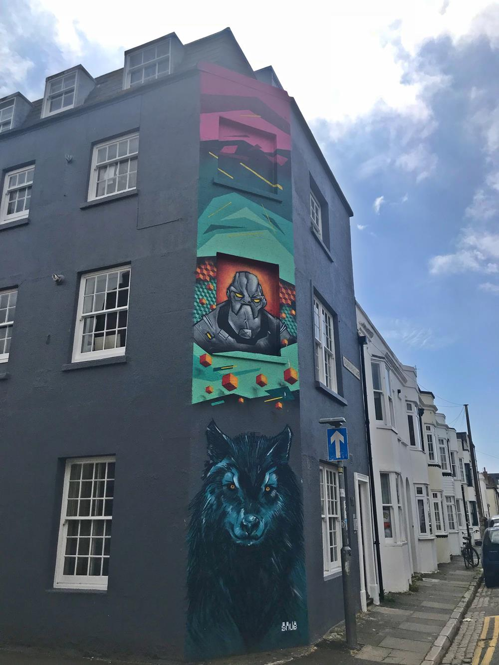 Street art by Snub in Gloucester Road, Brighton