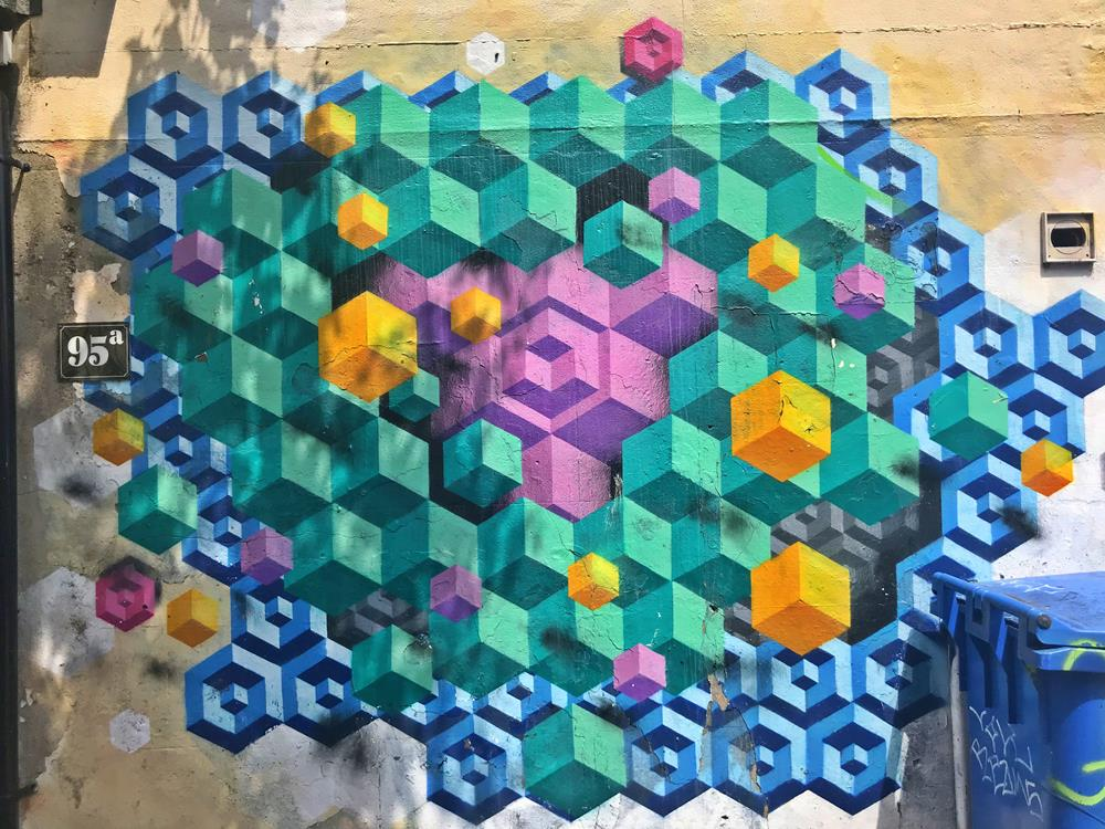 Geometric street art in Brighton