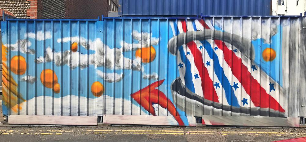 Helterskelter from Brighton Pier, by street artist Glimmertwin 32