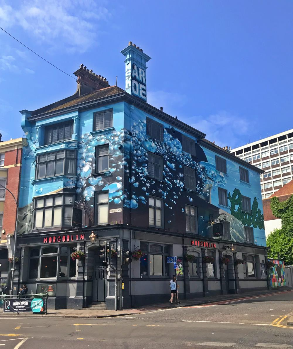 The Hobgoblin pub with enormous murals
