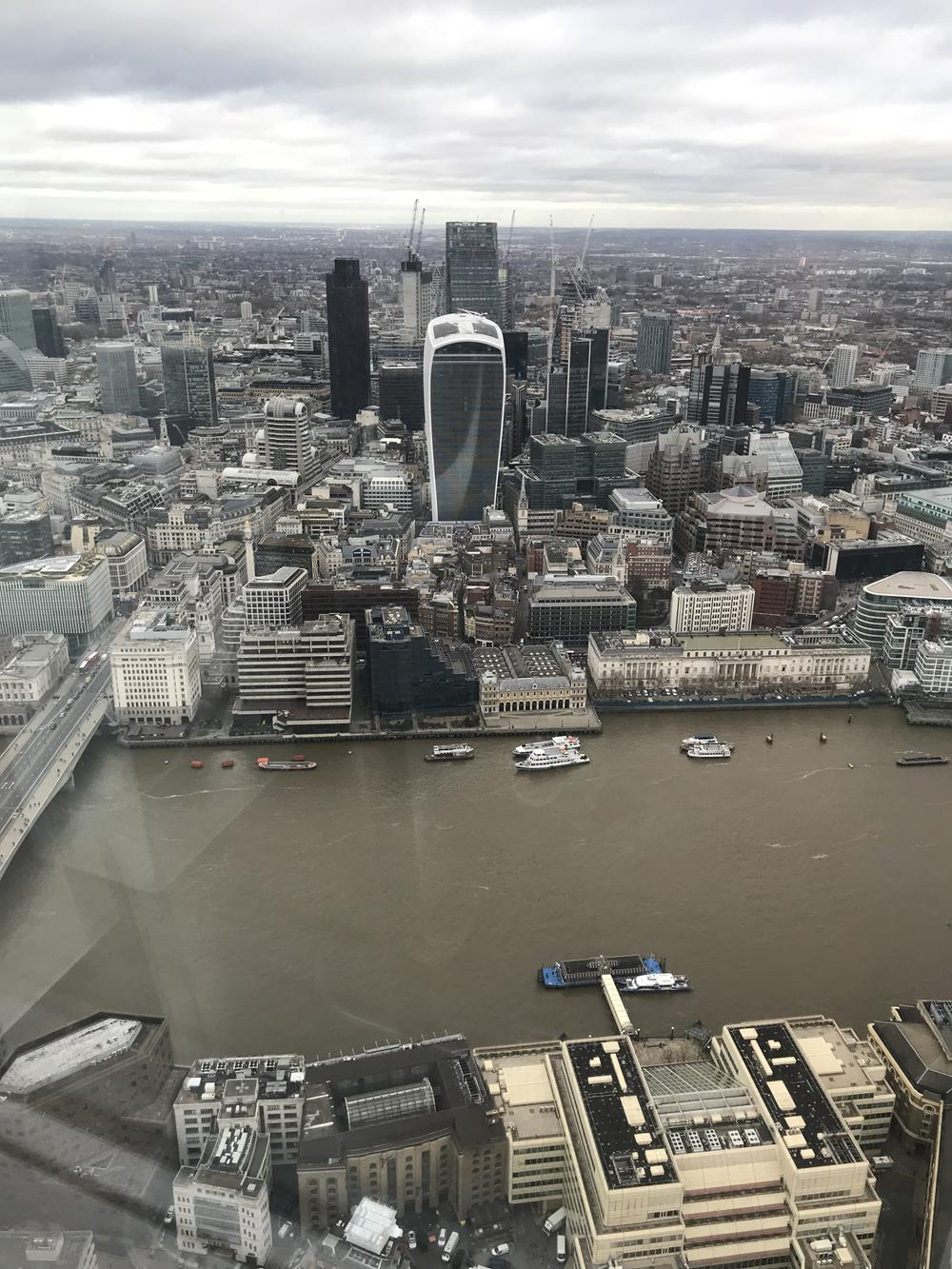 View from the Shard to the north including the City and river in the foreground