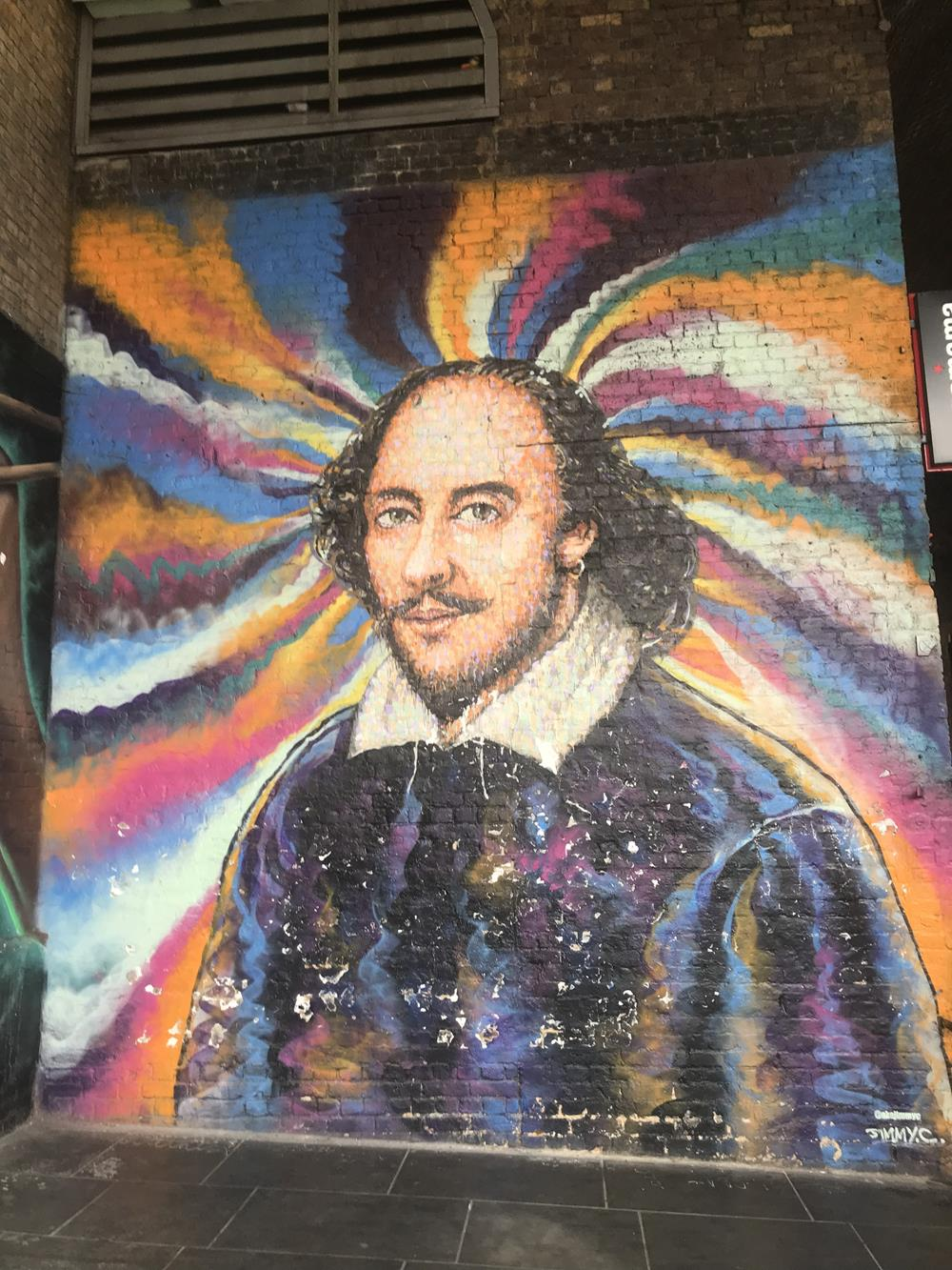 Portrait of William Shakespeare by street artist Jimmy C, located on a wall in Clink Street, London