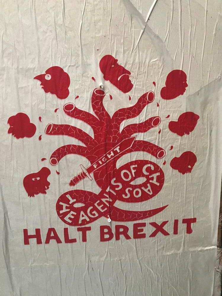 Brexit themed paste up street art in Brighton's North Laine district