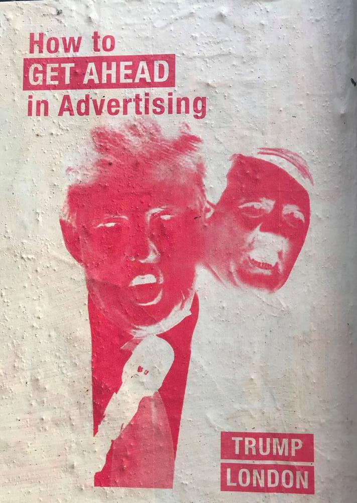 Donald Trump themed paste up street art in Shoreditch