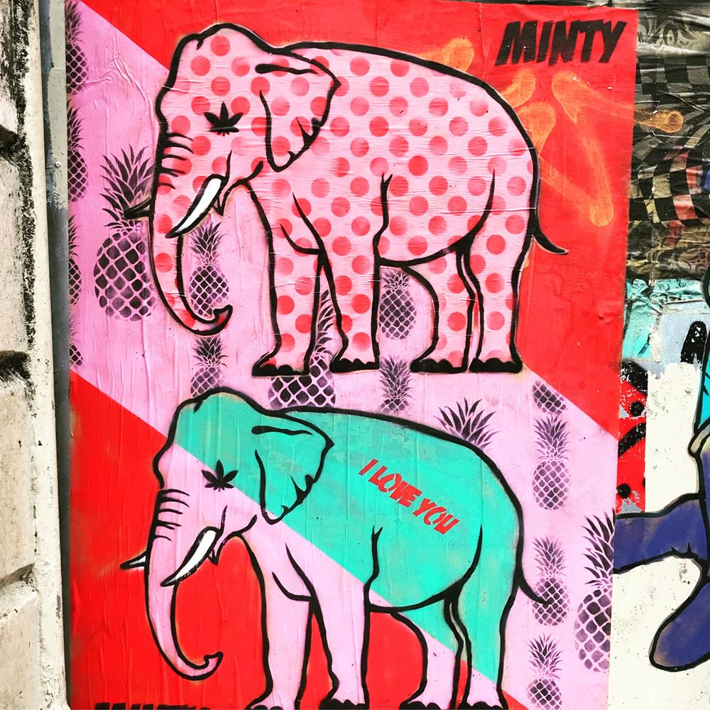 Two colourful elephants by Minty in Brighton