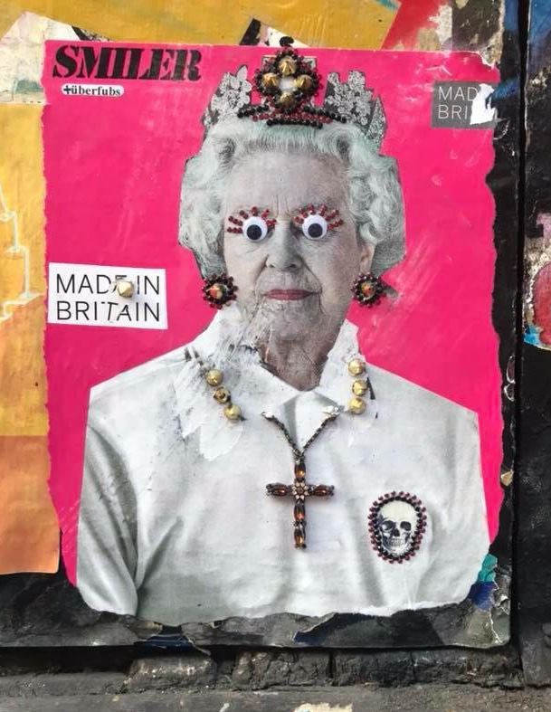 Queen Elizabeth themed paste up street art from Shoreditch