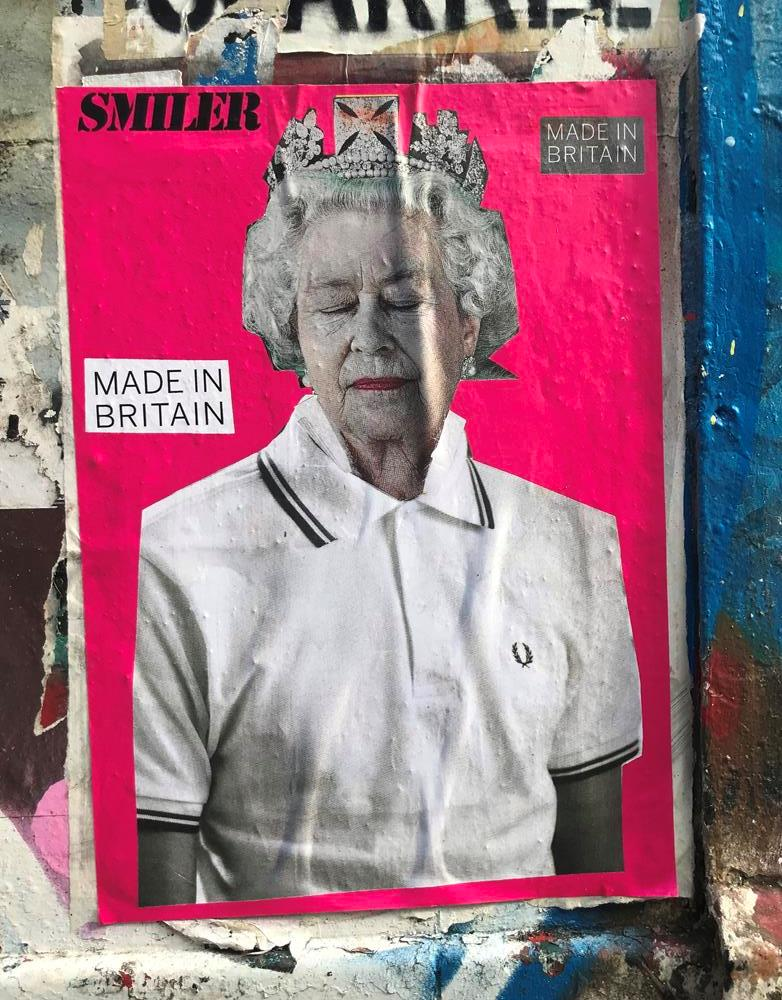 Queen Elizabeth and Fred Perry themed street art from Shoreditch