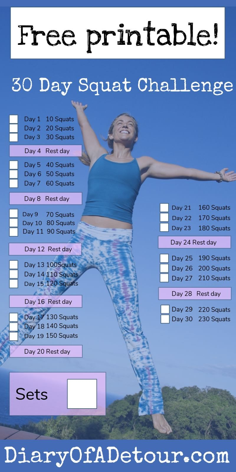 photo about 30 Day Squat Challenge Printable called 30 working day squat situation : a health and fitness difficulty for all skills