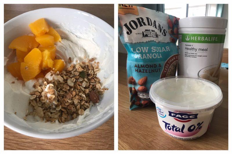 Total greek yogurt with Jordans low sugar granola and herbalife vanilla shake with peaches for breakfast