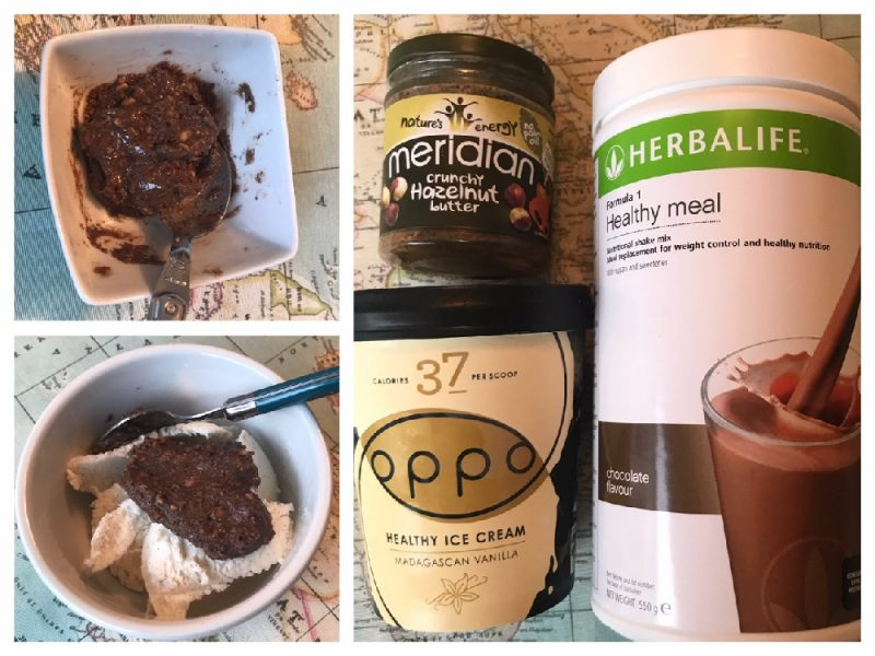 sugar-free ice cream, hazelnut butter and Herbalife F1 chocolate powder