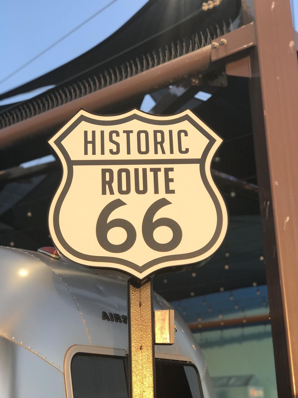 Route 66 sign on Santa Monica pier