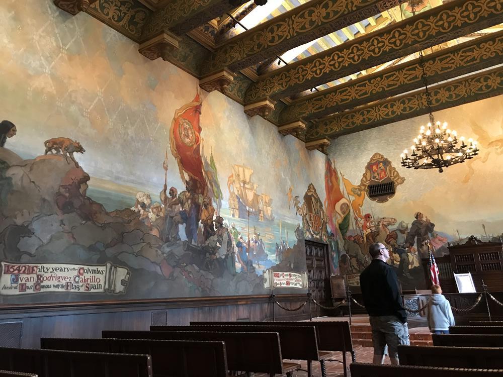 Wall murals at Santa Barbara courthouse