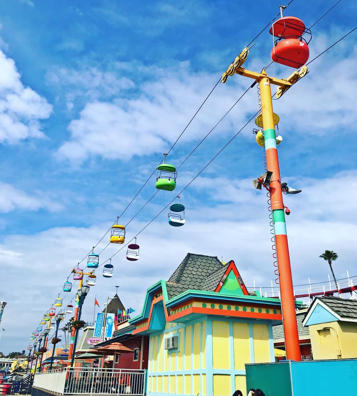 Brighly coloured cable cars at Santa Cruz funfair