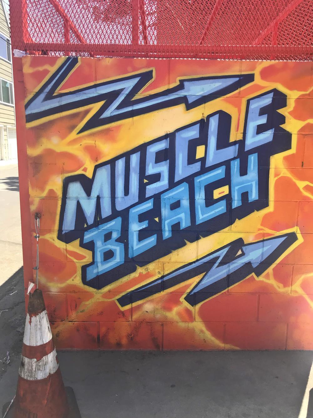 Muscle Beach street art wall mural