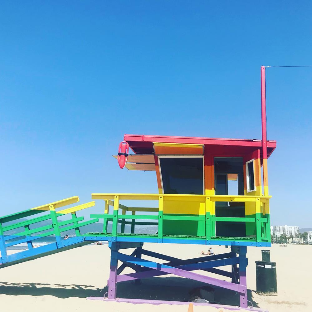 Rainbow painted lifeguard station on Venice Beach