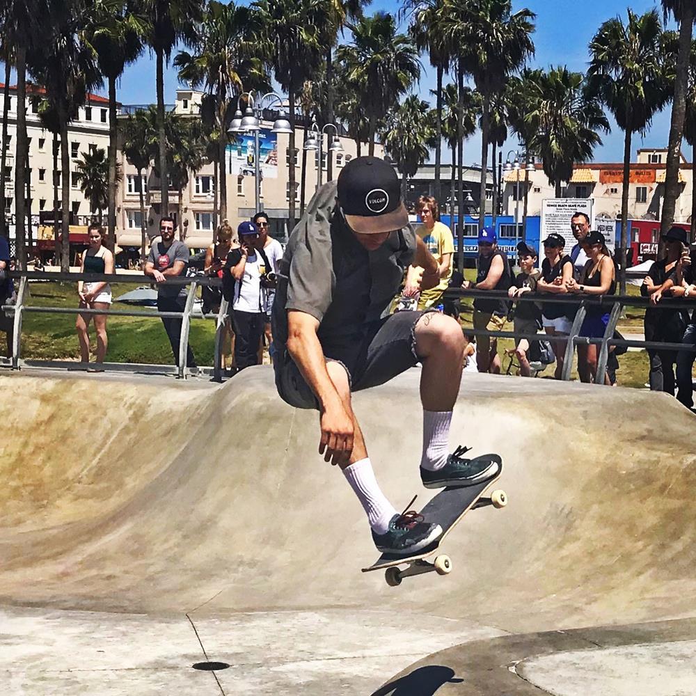 Skateboarder at Venice Beach skate park