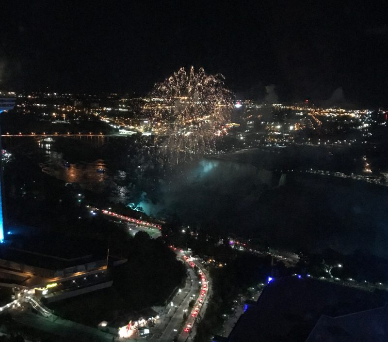 View of the Niagara Falls firewords from our 49th floor room on the Canadian side of the falls