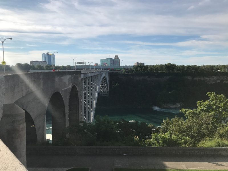 Side view of the Rainbow Bridge at Niagara