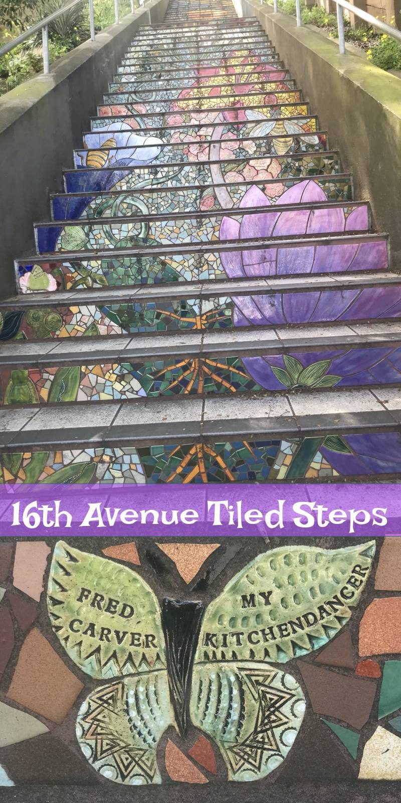 Butterfly tile and purple flower in the 16th Avenue hidden steps