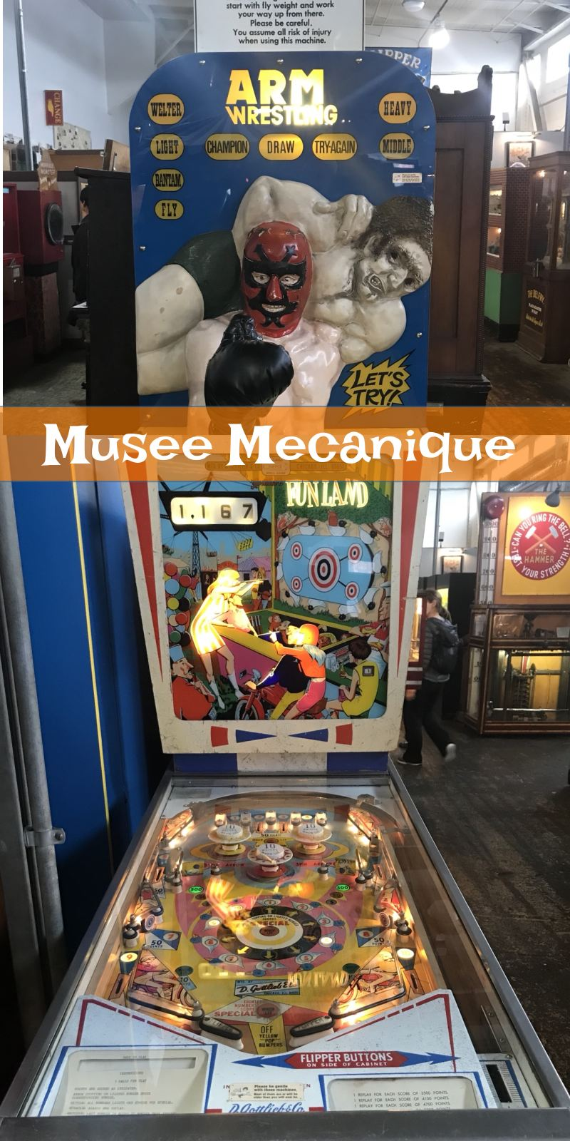 Musee Mecanique pinball and arm wrestling machine