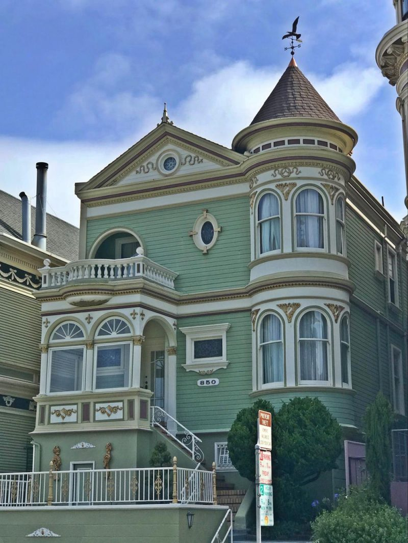 Green coloured house in Haight Ashbury district of San Francisco